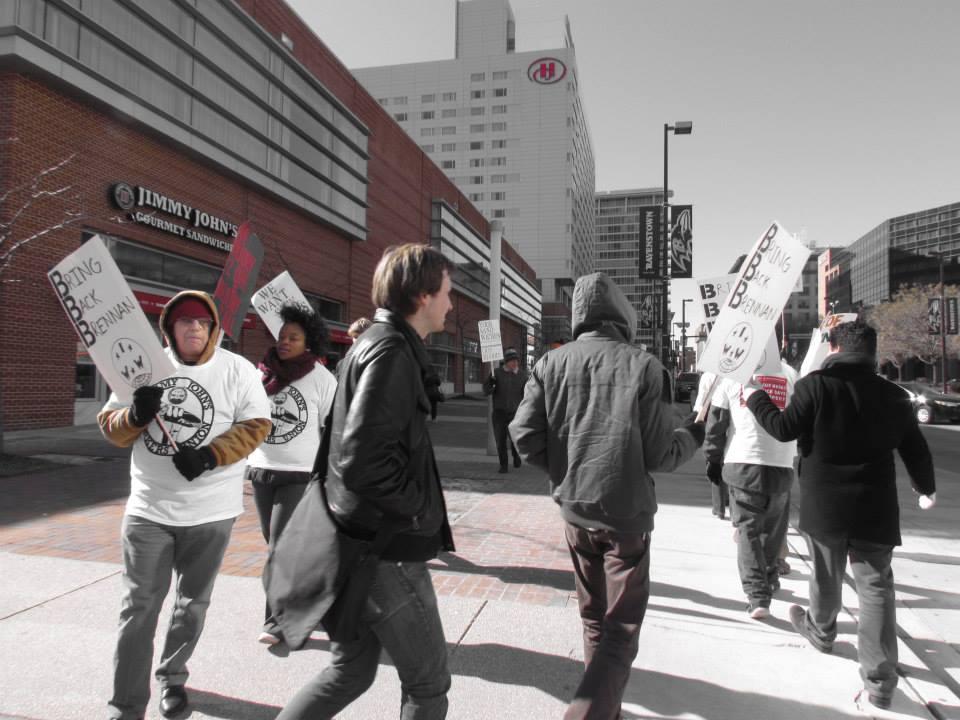 Picket over Brennan's firing, Pratt Street Jimmy John's location (Baltimore), January 2015 © Mike Pesa