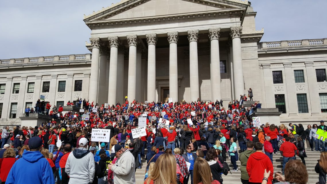 Teacher rally on the steps of the WV Legislature, Charleston, March 5, 2018 | Image courtesy of the author