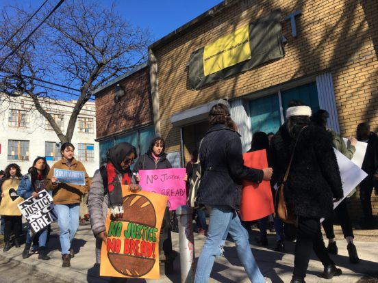 Picket outside of Tom Cat bakery on March 23, 2019